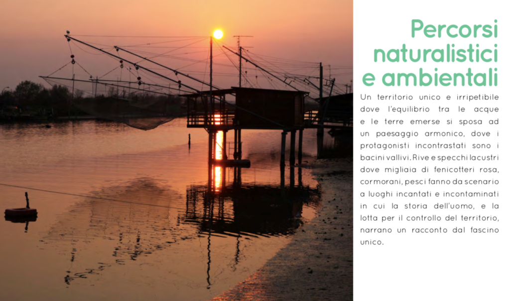 Comacchio Destinazione per tutti Tour ambientalista nel Delta del Po l'mmagine illustra Bilancioni da pesca nelle Valli al traomento